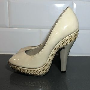 Authentic Burberry Gold Studded Nude Heels